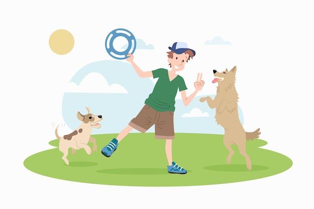 Flacher entwurfsmann, der mit hunden spielt