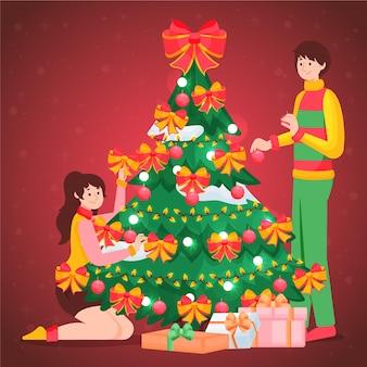 Flacher entwurfsweihnachtsbaum mit leuten
