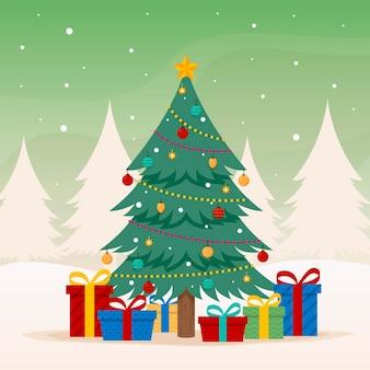 Flacher entwurfsweihnachtsbaum mit verschiedenen verzierungen