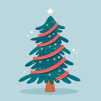 Flacher entwurfsweihnachtsbaum
