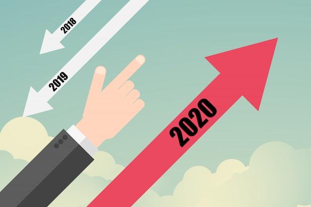Flacher erfolg. geschäftsverlaufspfeil bis zum jahr 2020
