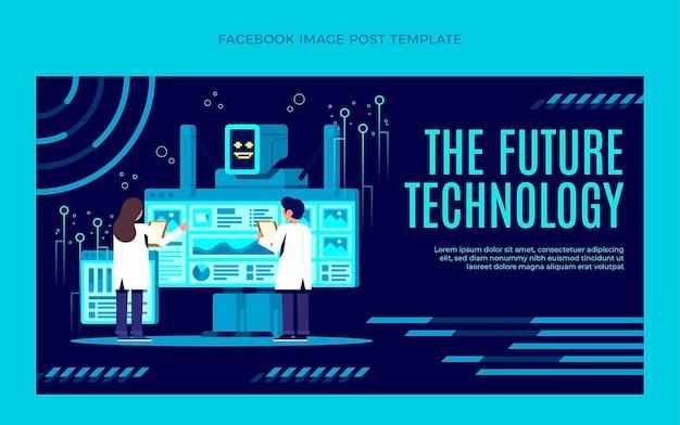 Flacher facebook-post mit minimaler technologie