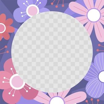 Flacher facebook-rahmen mit blumenmuster