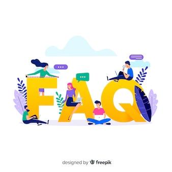 Flacher faq konzepthintergrund
