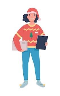 Flacher farbcharakter des weiblichen kuriers der feiertagszustellung. postfrau mit paket. feste jahreszeit expressversand isolierte cartoon-illustration für web-grafikdesign und animation