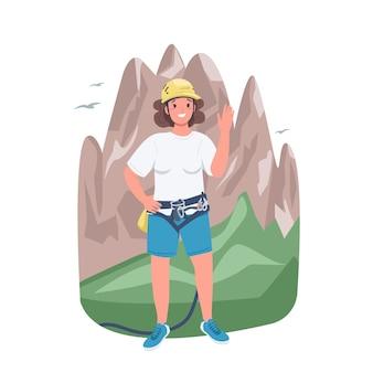 Flacher farbdetailcharakter der bergsteigerin. klettern und trekking. starke dame. freudige weibliche kletterer lokalisierte karikaturillustration für webgrafikdesign und -animation