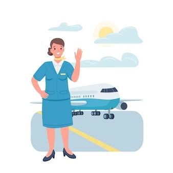 Flacher farbiger detaillierter charakter der stewardess der frau. gleichstellung der geschlechter am arbeitsplatz. fröhliche weibliche flugbegleiterin isolierte karikaturillustration für webgrafikdesign und animation