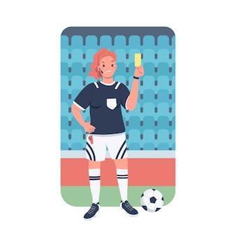 Flacher farbiger detaillierter charakter des fußballreferenten der frau. gleichstellung der geschlechter am arbeitsplatz. weiblicher fußballschiedsrichter am stadion isolierte karikaturillustration für webgrafikdesign und -animation