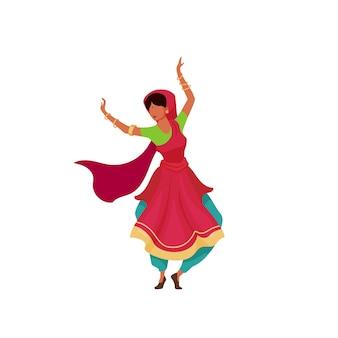 Flacher farbiger gesichtsloser charakter der indischen tänzerin