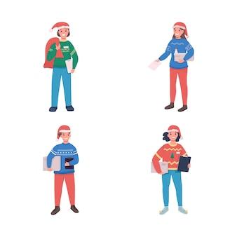 Flacher farbsatz für kurierdienste. postbote in weihnachtsmannmütze. weihnachtszeit. festliche jahreszeit bestellen isolierte karikaturillustration für webgrafikdesign und animationssammlung