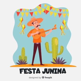 Flacher festa junina hintergrund