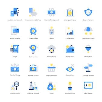Flacher finanzikonensatz für ihre website und bewegliche ikonen. kreativ gestaltete vektoren sind in bearbeitbarer qualität. in verknüpften projekten verwenden.