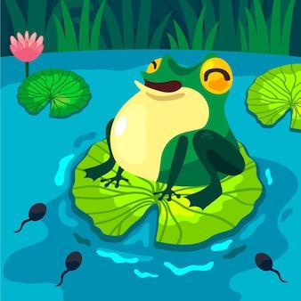 Flacher frosch mit großer augenillustration