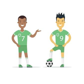 Flacher fußball-fußballspieler mit ballvektorillustration