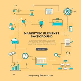 Flacher gelber marketing-elementhintergrund