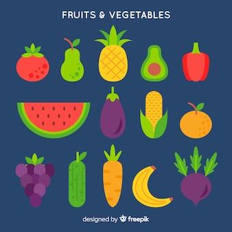 Flacher gemüse- und fruchthintergrund