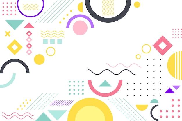 Flacher geometrischer hintergrund mit pastellfarben