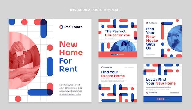 Flacher geometrischer immobilien-instagram-post