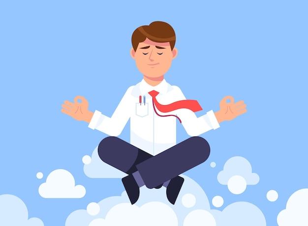 Flacher geschäftsmann, der meditiert