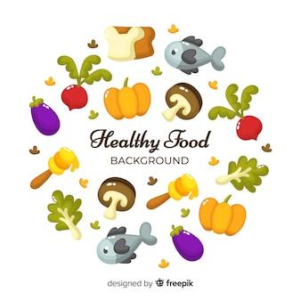Flacher gesunder lebensmittelhintergrund