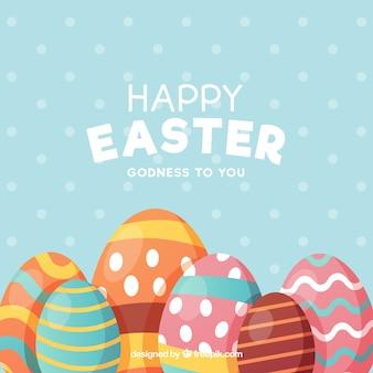 Flacher glücklicher Ostern-Tageshintergrund