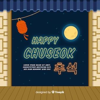 Flacher glücklicher chuseok festivalhintergrund