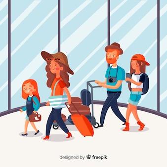 Flacher glücklicher reisender hintergrund der familie