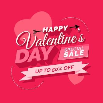 Flacher glücklicher valentinstagverkauf