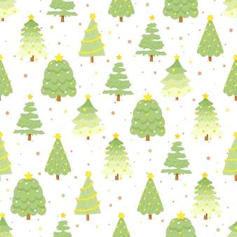 Flacher grüner weihnachtsbaum der art auf nahtlosem muster des bunten hintergrunds