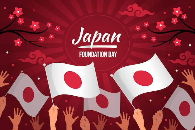 Flacher grundlagentag japan mit flaggen