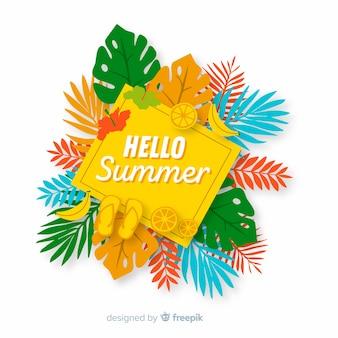 Flacher hallo sommerhintergrund mit blättern