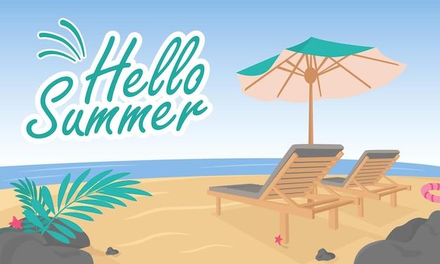 Flacher hallo sommerhintergrund mit strandansicht