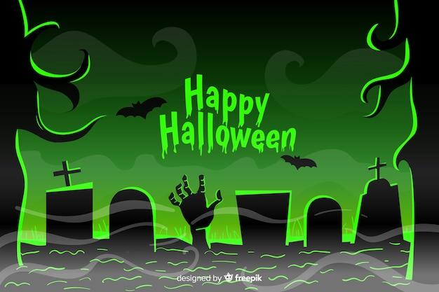 Flacher halloween-hintergrund mit der grünen zombiehand