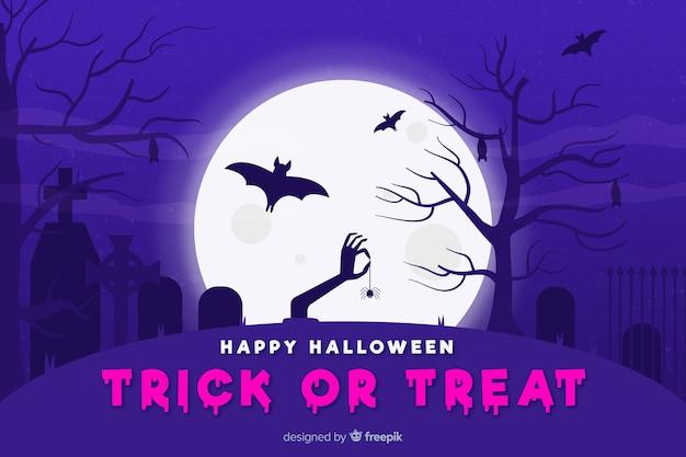 Flacher halloween-hintergrund mit der zombiehand, die eine spinne hält
