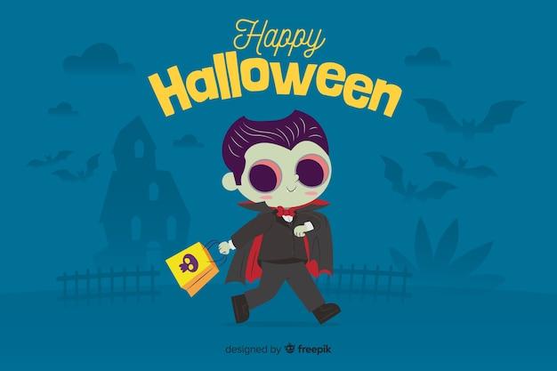 Flacher halloween-hintergrund mit nettem vampir