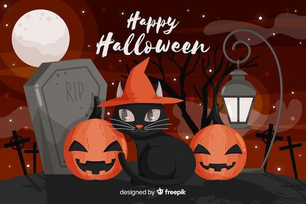 Flacher halloween-hintergrund mit schwarzer katze