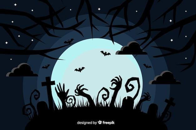 Flacher halloween-hintergrund mit vollmond