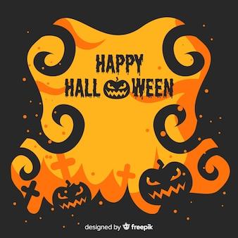Flacher halloween-rahmen in loderndem gelbem und schwarzem design