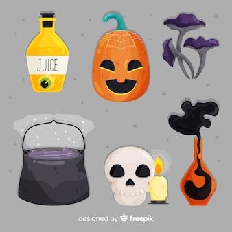 Flacher halloween-satz nette elemente auf grauem hintergrund