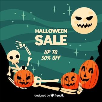 Flacher halloween-verkauf der lustigen gesichter
