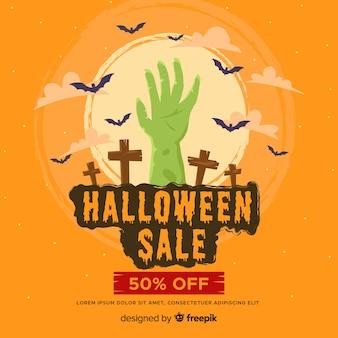 Flacher halloween-verkauf mit der zombiehand