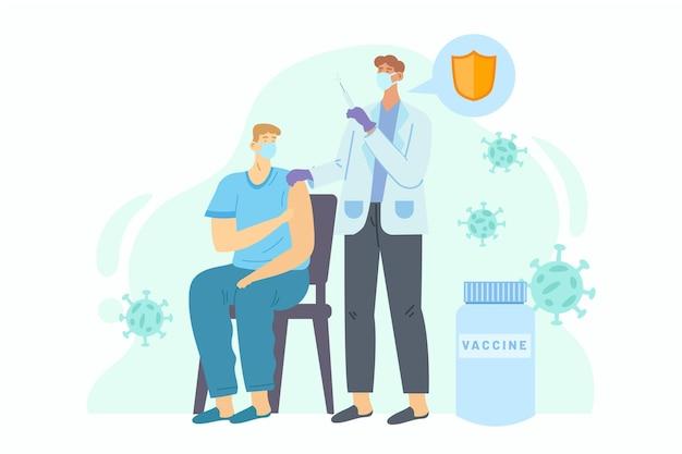 Flacher hand gezeichneter arzt, der dem patienten impfstoff injiziert