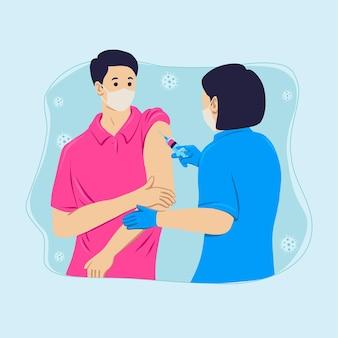 Flacher hand gezeichneter arzt, der einem patienten impfstoff injiziert