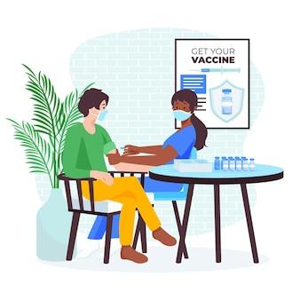 Flacher hand gezeichneter arzt, der impfstoff zu einer patientenillustration injiziert