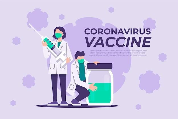 Flacher hand gezeichneter coronavirus-impfstoffhintergrund mit ärzten und spritze