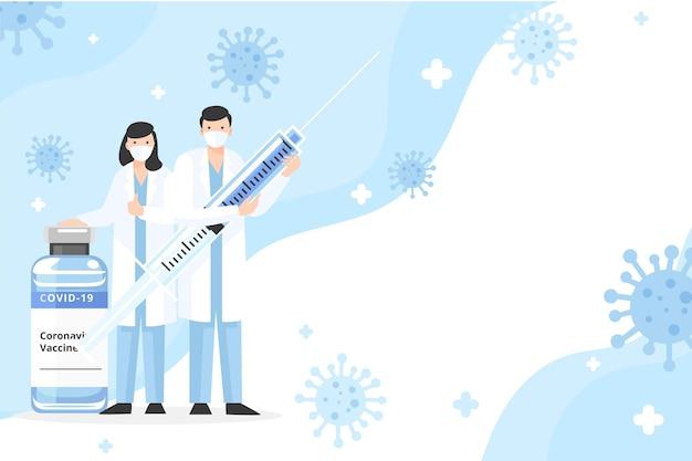 Flacher hand gezeichneter coronavirus-impfstoffhintergrund Premium Vektoren