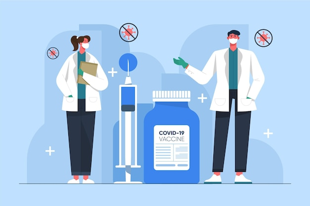 Flacher hand gezeichneter coronavirus-impfstoffhintergrund