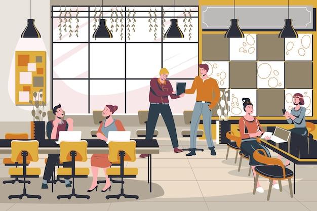 Flacher handgezeichneter coworking space