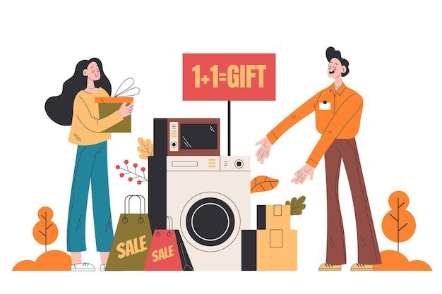 Flacher herbstverkauf mit taschen und geschenken