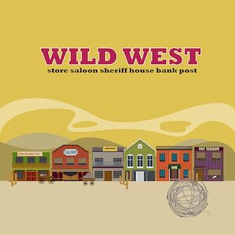 Flacher hintergrund der wild west street-landschaft